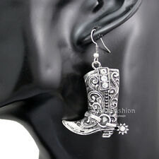 Western Wild West Silver Cowgirl Boots Spur Rodeo Earrings Fancy Dress Costume W