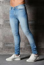 Mens AD Super SKINNY Stretch Vintage Stylish DESIGNER Spray Ons Slim Denim Jeans Light Wash 36 In. Long