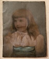 antique full plate tintype photograph hand colored portrait young girl