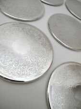 SET OF 8 QUALITY SILVER PLATE STRACHAN DRINK COASTERS VINTAGE RETRO