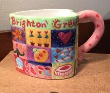 Brighton Christmas Holiday Themed Coffee Cup Mug Colorful Heart Shaped.......11R
