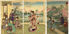 "Delightful NOBUKAZU ukiyo-e woodblock print: ""SPRING CHERRY BLOSSOMS"""