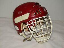 "Vintage Retro Ccm 1032 Size 7"" - 7 1/8"" Red Hockey Helmet Junior With Cage 424"