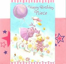 Happy Birthday Niece White Goose Geese Roller Skates Skating Hallmark Card