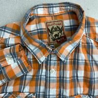 Red Camel Button Up Shirt Boys XL Orange Blue White Long Sleeve Plaid Casual