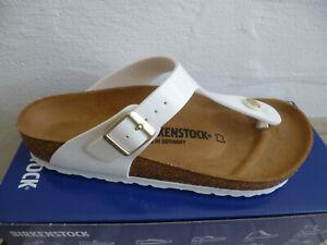 Birkenstock Gizeh Toes Splitter Mules Sandal White Patent/Patent 1005299 New