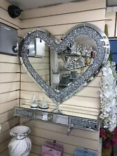 Love Heart Shaped Wall Mirror Sparkly Silver Diamond Crush Crystal 80x70cm