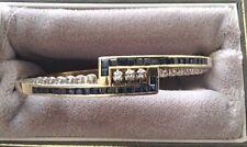 Vintage 1950s Thin 14K Gold Sapphire+Diamond Bangle Bracelet 18g