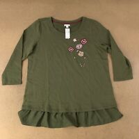 Westport Women's Size XL Olive Green Floral Embroidered Long Sleeve Top NWT