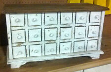 18 Drawer Apothecary, Spice / Jewlery Chest - Distressed White with Natural Top