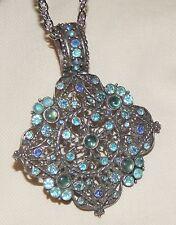 Sparkling Open Filigree Rhombus Light Blue & Teal Silvertone Pendant Necklace