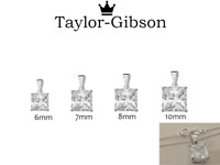 925 Sterling Silver Square Princess Necklace Pendant small medium large CZ Clear