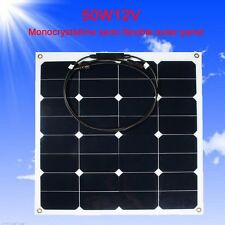 50W Monocrystalline Solar Panel Charger Cell Portable Waterproof 12V