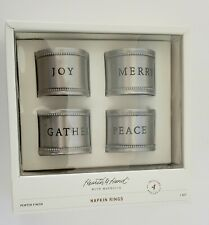 Napkin Rings 4-Pc Set Hearth and Hand Magnolia Pewter Christmas Joy Peace Merry