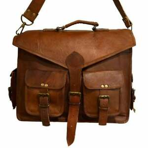 18'' inch Real Leather Cross Body Brown stylist Medium Laptop Handmade Men's Bag