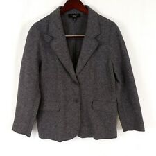Talbots Womens sz 14P Grey Wool Blend Career Blazer Two Button Front