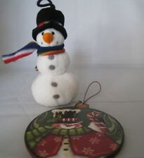Set of 2 Snowman Plush and Painted Wood Christmas Tree Hanging Ornaments