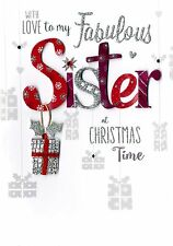 Fabulous Sister Embellished Christmas Card Hand-Finished Festive Cheer Cards