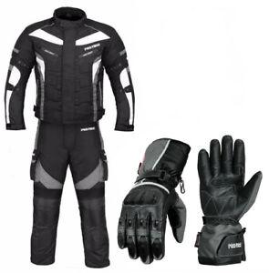 Men Motorbike Racing Suit Cordura Textile Jacket Trouser Waterproof Biker Gloves