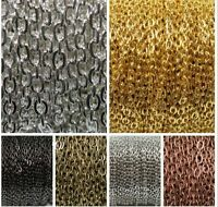Silver Golden Plated Cable Open Link Iron Metal Chain Findings  6 Colors 5m/100m