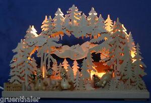 3D-Schwibbogen 43 x 30cm gesägt Schneemann-Paradies Wintersport  Lichterbogen