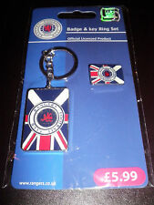 Official Rangers Badge & Chain Keyring Set  BNWT RRP £5.99