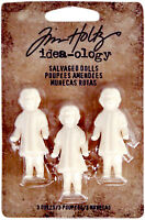 SSS Tim Holtz Idea-ology SALVAGED DOLLS 3 PK Vintage White Rustic Fantasy
