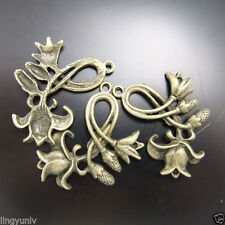 15pcs Antiqued Style Bronze Tone Flower buds Charm Pendant Finding 02591