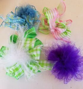 Little Girl's Hair Bows Clip on or Can Put on Headbands Purple Green Pink Turquo