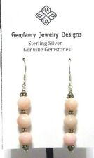 Sterling Silver Pink PERUVIAN OPAL Gemstone Long Dangle Earrings...Handmade USA