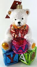 Glassware Art Studio Blown Glass Christmas Ornament Bear on Building Blocks