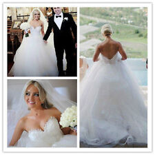 2017 Latest Sweetheart Ball Gown Wedding Dress Bridal Gown Size 8 10 12 14 16 +