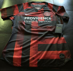 Nwt Nike Drifit Portland Thorns Womens Soccer Jersey Size Large Red/Black P3