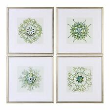 Botanical Mandala Wall Art Set | Set 4 Group Green Silver Frame Square