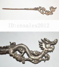 CHINA LATE QING DYNASTY OLD SILVERING COPPER JEWELRY CARVE DRAGON STATUE HAIRPIN