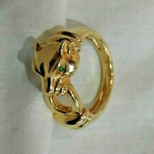 Italian 14K Yellow Gold Panther Cat with Green Emerald Eyes Ring Size 8