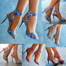 Slim Casual Floral Textile Heels for Women