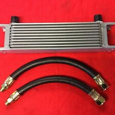 CLASSIC MINI 10 ROW OIL COOLER & PAIR OF RUBBER HOSES KIT
