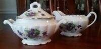 Royal Jackson Woodland Violets Fine China CREAMER & SUGAR BOWL