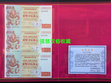 A pcs of China 3-Uncut1 Million Hongkong Dollars Dragon Specimen Banknote/ UNC i
