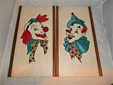 "Pair Vtg Retro Modern Mid Century Handmade Clown Pictures-18"" x 9 5/8"""