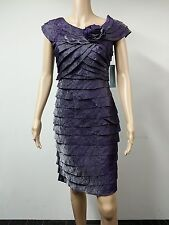 NEW - London Times - Size 6 - Shutter Pleat With Rose Eggplant Dress Purple $119