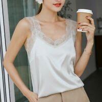 Lady Satin Lace Vest Tank Tops Faux Silk Spaghetti Strap Cami Slip V Neck Casual