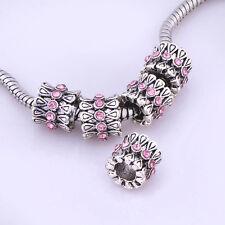 5pcs Enamel European beads Fit charm Bracelet silver plated Free Shipping