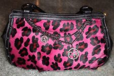 Pulicati Black Leather and Calf Hair, Pink Cheetah Purse