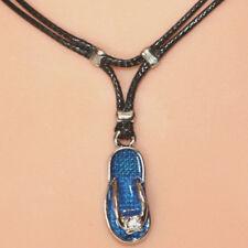Collier pendentif tong bleu sandale strass cordon noir - blue flip flop necklace