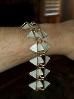 Vintage Aksel Holmsen White Guilloche Enamel Sterling Silver Panel Link Bracelet