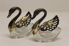 """Vintage Crystal Swan Salts w/ Silverplate Wings & Head ~ Made in Italy, 3"""""""