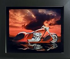 Red Custom Motorcycle Bike Wall Decor Art Contemporary Black Framed Picture