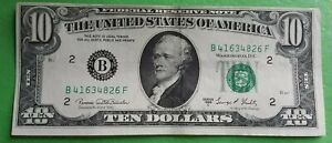 1969 C $10 TEN DOLLARS NEW YORK USA FEDERAL RESERVE NOTE very fine condition